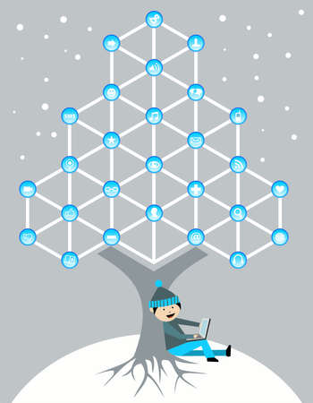 Social media network connection tree in Christmas winter time Vector