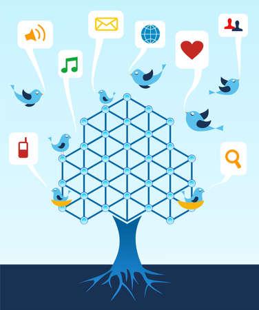 Social media network connection tree. Vector