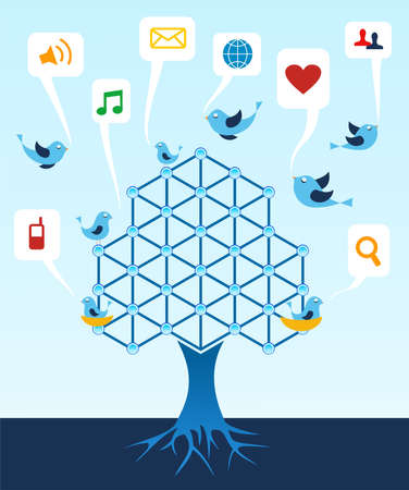 Social media network connection tree. Stock Vector - 10301935