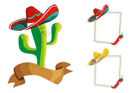 sombrero de charro: Comida mexicana menú escenografía: ilustración divertido personaje de dibujos animados de cactus y cartelera en blanco.