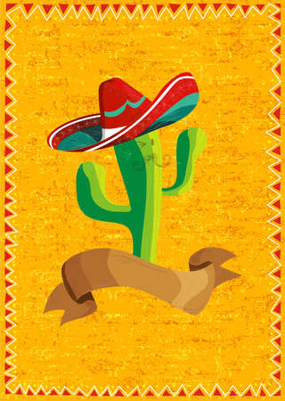 Mexican funny cactus cartoon character and ribbon illustration over grunge background. Useful for menu design. Vector