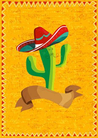 sombrero de charro: Mexicano cactus divertidos dibujos animados carácter y cinta ilustración sobre fondo grunge. Útil para el diseño del menú.