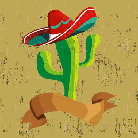sombrero: Mexican funny cactus cartoon character illustration over grunge background. Useful for menu design.