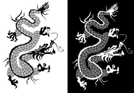 black and white dragon: Positive negative Chinese dragon silhouette symbol illustration.