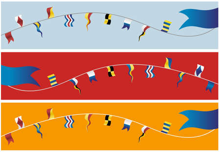 Set of banner navigation flags.