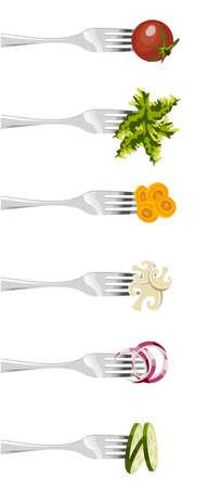 cucumber salad: Seis tenedores, con diferentes verduras en secuencia vertical sobre fondo blanco.