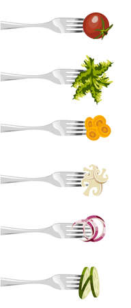 healthy lunch: Six forks with different vegetables in vertical sequence on white background.