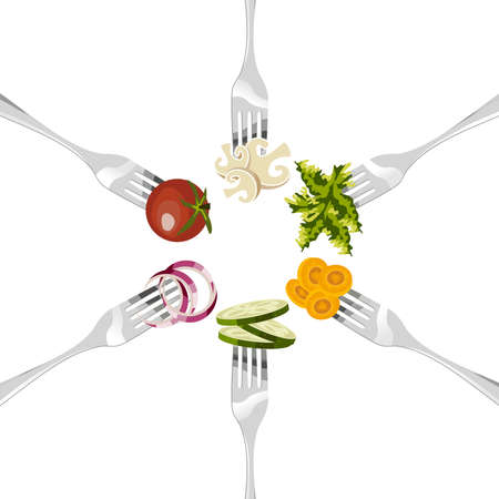 cucumbers: Six forks with different vegetables in circular sequence on white background.
