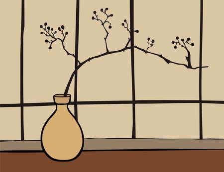 Oriental vase with branch zen on beige background.