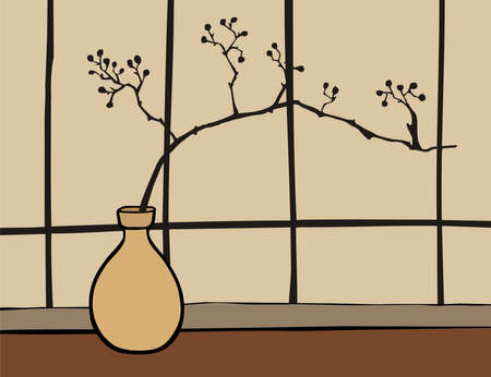 mantra: Oriental vase with branch zen on beige background.