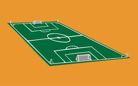 gran angular: Ilustraci�n de campo de f�tbol en perspectiva sobre fondo naranja.
