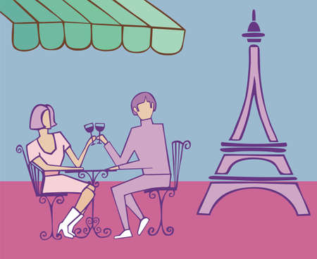 Couple celebrating in Paris near the Eiffel tower on light blue background. Vector