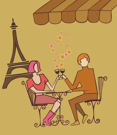 Couple enjoy Paris at a restaurant near the Eiffel tower on brown warm tones palette background. Vector