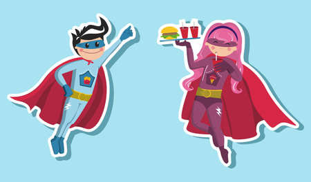 superhero: A girl and boy superheroes floating in the air with a tray of fast food in hand on light blue background.