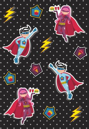 Superheroes kids floating in the air with a tray of fast food in hand on black background with little stars. Vector