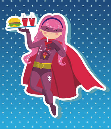 Superhero girl flying with tray in your hand with fast food on blue background with little stars Vector