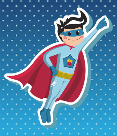 kids costume:  Superhero boy flying on blue background with little stars