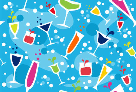 Colourful cups wallpaper on light blue background. Vector