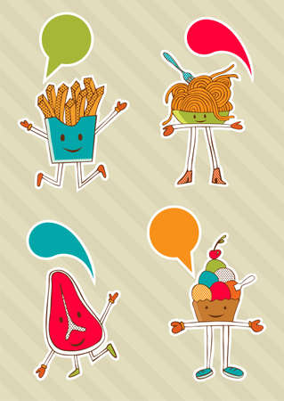 Coloured food cartoons with dialogue balloon on beige background. Vector