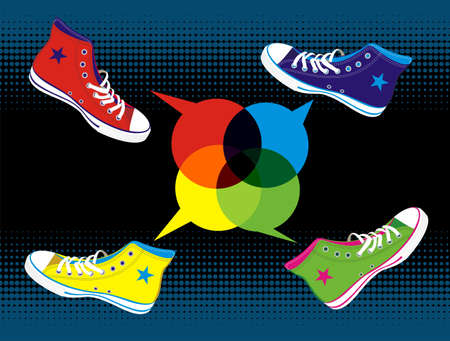 american media: Colourful sneakers with dialogue balloon on black background.