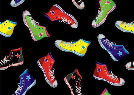 Colourful sneakers on black background.  Vector