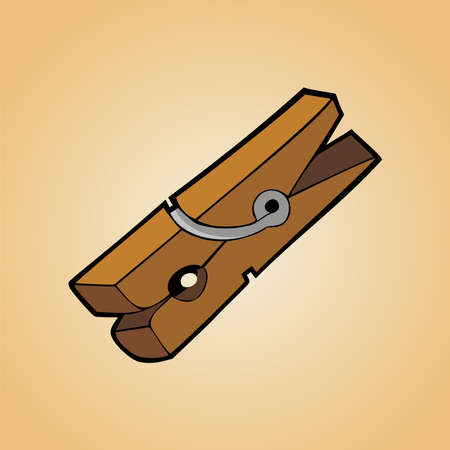 clothes peg: One clothespin of wood on clear orange background. Illustration