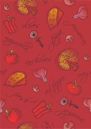 Patroon van pizza en ingrediënten met woorden op rode achtergrond. Vector Illustratie