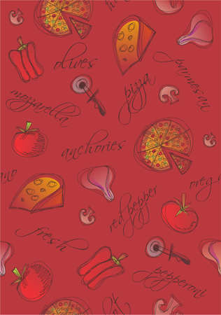 meals: Pattern of pizza and ingredients with words on red background. Illustration