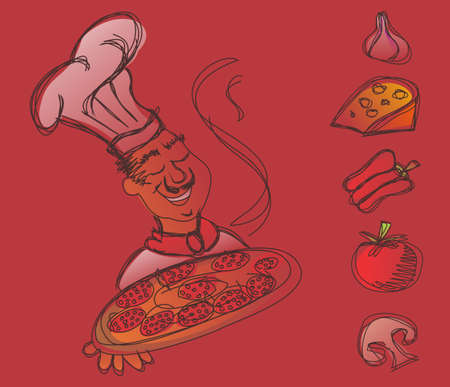 Chef with a pizza in the hands and ingredients of the italian pizza on red background.  Vector