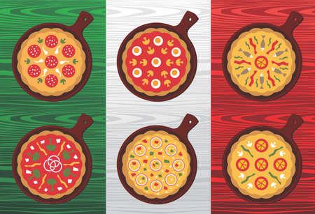 bandera de italia: Diferentes sabores de Pizza sobre fondo de madera con textura de bandera italiana.  Vectores