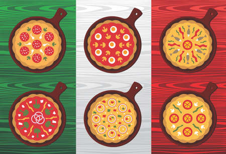 pizza ingredients: Different Pizza flavors over wooden textured Italian flag background.  Illustration