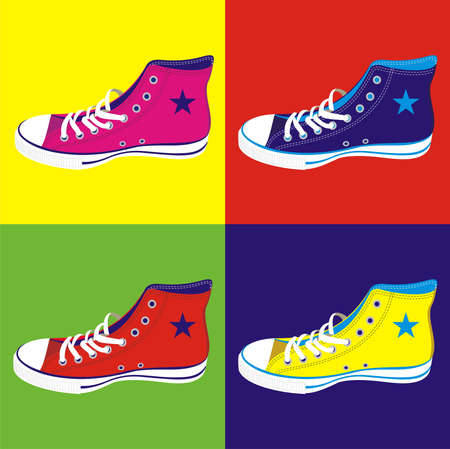 Colorful teen sneakers on differentes colors background.  Stock Vector - 10492521