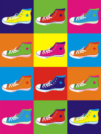 teen pop: Colorful sneakers on differentes colors background.