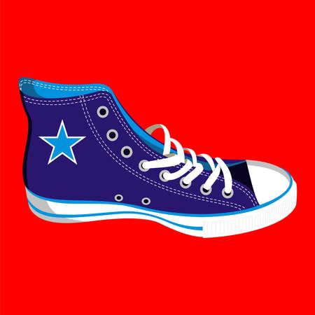 スニーカー: 赤い背景の上の単一の青いスニーカー  イラスト・ベクター素材