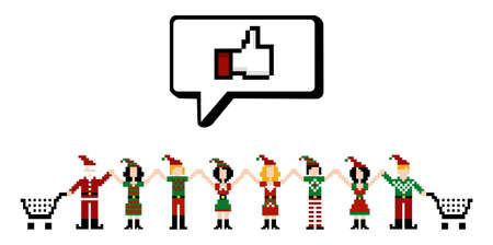 christmas symbol: E-commerce community marketing online shopping in social networks at Christmas time.