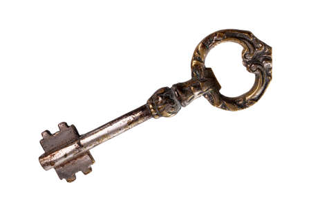 antique keys: Vintage ancient key isolated over white background. Stock Photo