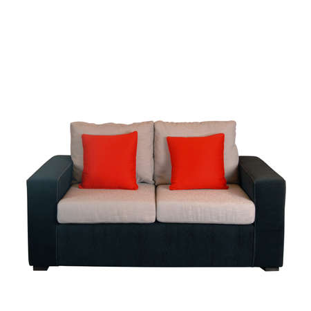 whithe: Sofa hogar moderno aislado m�s de blanco Foto de archivo