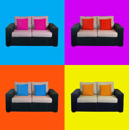warhol: Multicolored home sofa composition design isolated.