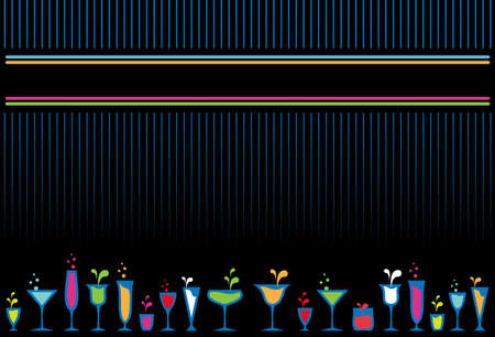 bar menu: Colorful cocktail glasses and bottles menu design background.