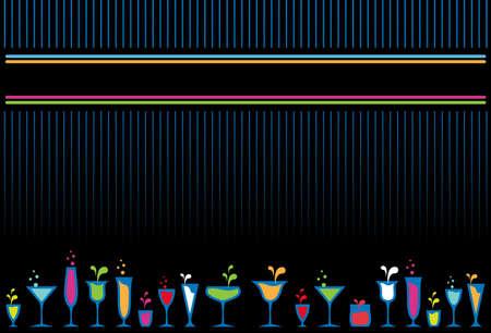 Vidrios coloridos cócteles y botellas de fondo del menú de diseño.