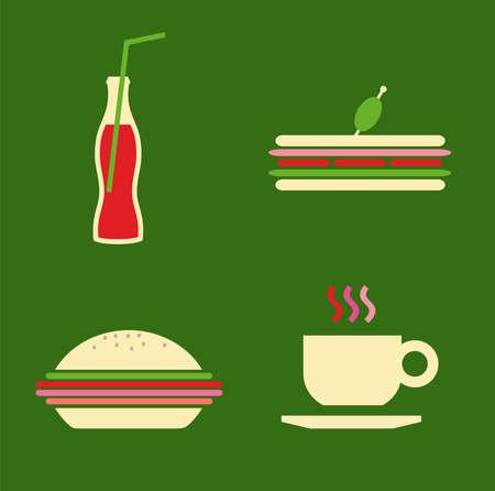 Cartoon style fast food icons set illustration. Vector avaliable. Vector