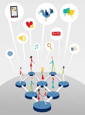 corporate social: Sociale Globale diagramma dei rapporti di rete su sfondo grigio chiaro. Vettoriali