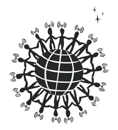 sociologia: La red de medios de comunicación social conexión con el mundo concepto de ilustración. Vectores