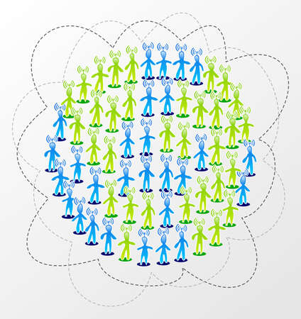 sociología: Concepto de mundo de conexión de red social media Vectores