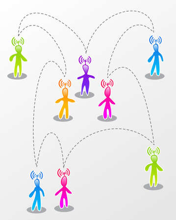 socialize: Interactive multicolored abstract social people connected illustration.