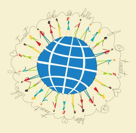 Les médias sociaux réseau connexion de personnes autour du monde. Illustration vectorielle de style rétro