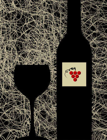 Contemporary winery menu design background. Bottle and glass silhouette Vector