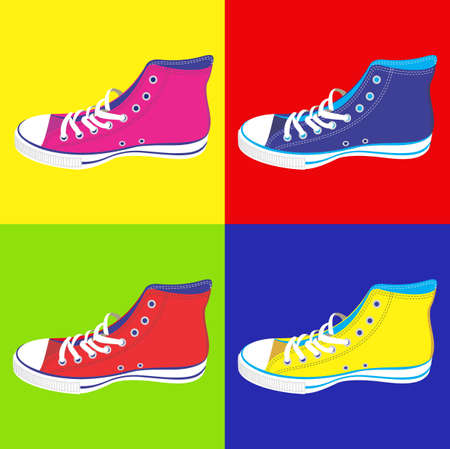 available: Colorful teen sneakers on differentes colors background. Vector available Illustration