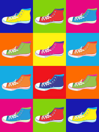 Colorful sneakers on differentes colors background. Vector available Vector