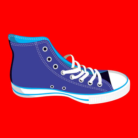 shoelaces: Single blue sneaker on red background. Vector available. Illustration